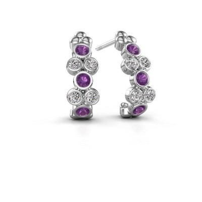 Picture of Earrings Kayleigh 925 silver amethyst 2.4 mm