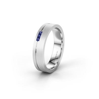 Trouwring WH0158L14X 925 zilver saffier ±4x1.4 mm