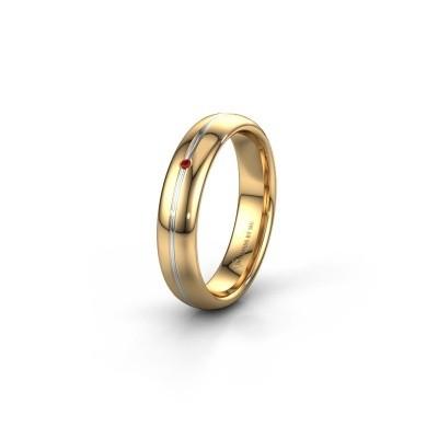 Trouwring WH2142L34A 585 goud robijn ±4x1.7 mm