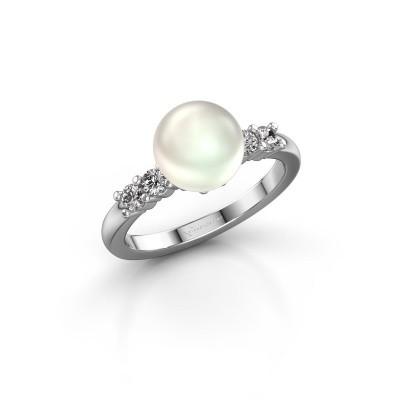 Foto van Ring Cecile 950 platina witte parel 8 mm
