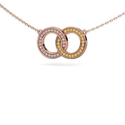 Foto van Ketting Circles 1 375 rosé goud gele saffier 1 mm