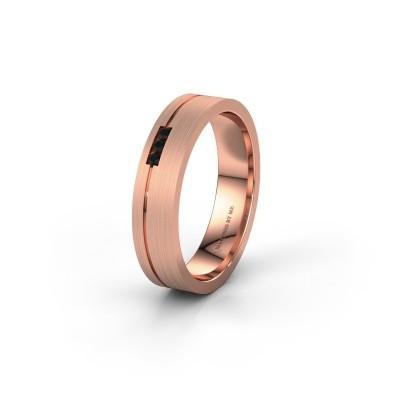 Trouwring WH0156L14X 585 rosé goud zwarte diamant ±4x1.4 mm
