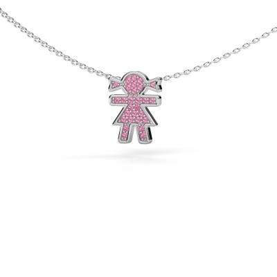 Foto van Collier Girl 585 witgoud roze saffier 1 mm