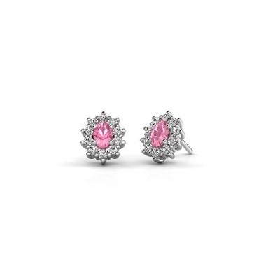 Bild von Ohrringe Leesa 950 Platin Pink Saphir 6x4 mm