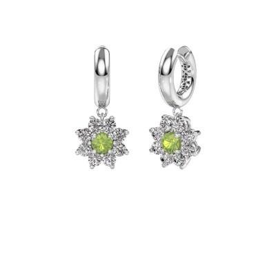 Picture of Drop earrings Geneva 1 950 platinum peridot 4.5 mm