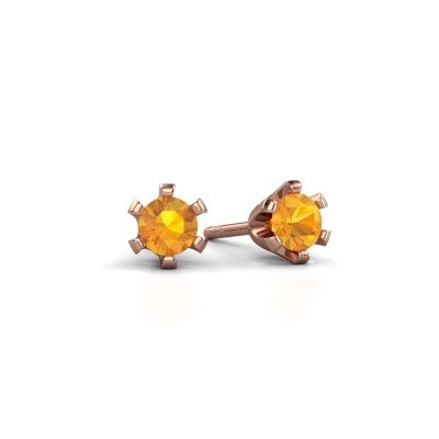 Picture of Stud earrings Shana 585 rose gold citrin 4 mm