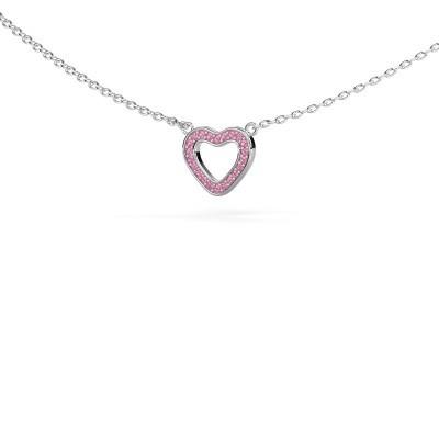 Bild von Anhänger Heart 4 925 Silber Pink Saphir 0.8 mm