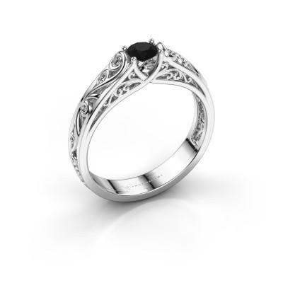 Ring Quinty 585 witgoud zwarte diamant 0.385 crt