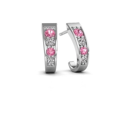 Picture of Earrings Glady 925 silver pink sapphire 3 mm