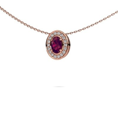 Picture of Necklace Madelon 375 rose gold rhodolite 6x4 mm