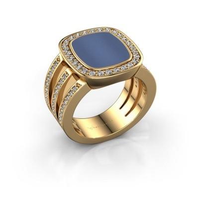 Bild von Siegelring Tijn 585 Gold Blau Lagenstein 13x11 mm