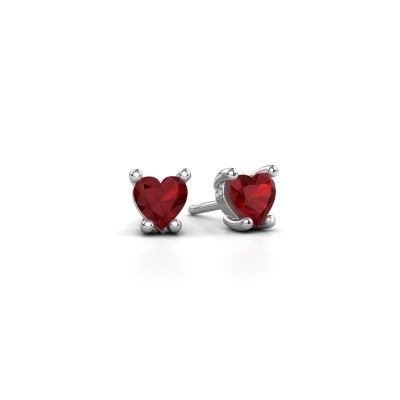 Picture of Earrings Sam Heart 585 white gold ruby 5 mm