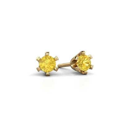 Picture of Stud earrings Shana 375 gold yellow sapphire 4 mm