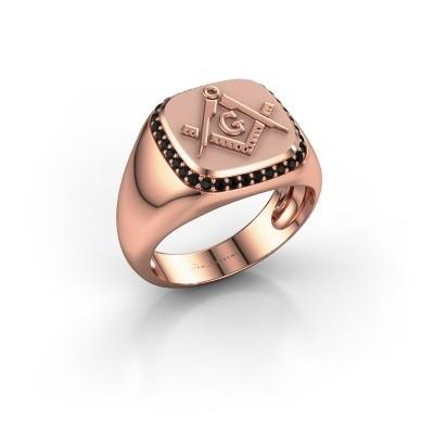 Foto van Heren ring Johan 585 rosé goud zwarte diamant 0.306 crt