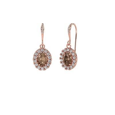 Foto van Oorhangers Jorinda 2 375 rosé goud bruine diamant 2.19 crt