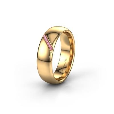 Trouwring WH0164L36B 585 goud roze saffier ±6x2 mm