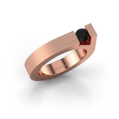 Foto van Ring Aisha 375 rosé goud zwarte diamant 0.36 crt