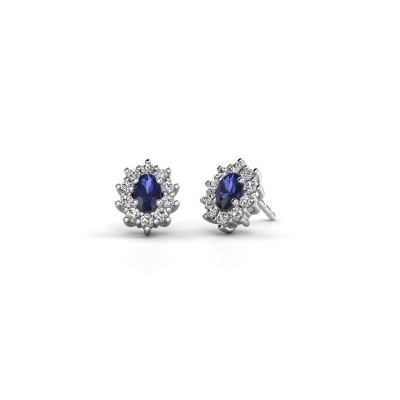 Picture of Earrings Leesa 925 silver sapphire 6x4 mm