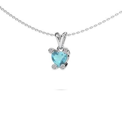 Picture of Necklace Cornelia Heart 950 platinum blue topaz 6 mm