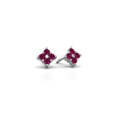Picture of Stud earrings Maryetta 925 silver rhodolite 2 mm