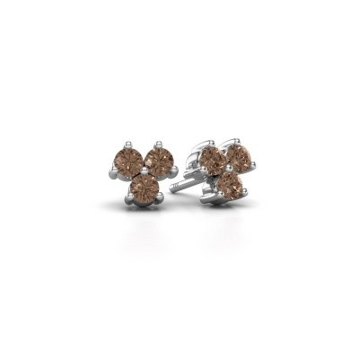 Picture of Stud earrings Shirlee 925 silver brown diamond 0.60 crt