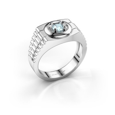 Foto van Rolex stijl ring Edward 585 witgoud aquamarijn 4.7 mm