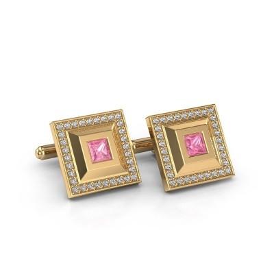 Foto van Manchetknopen Joris 585 goud roze saffier 4 mm