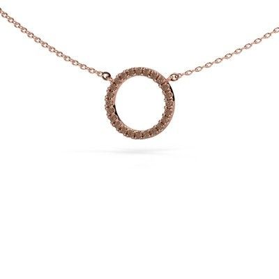 Picture of Pendant Circle 375 rose gold brown diamond 0.18 crt