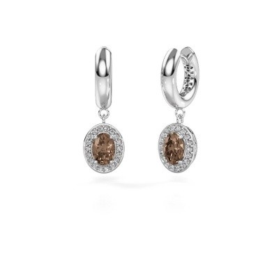Foto van Oorhangers Annett 950 platina bruine diamant 1.87 crt