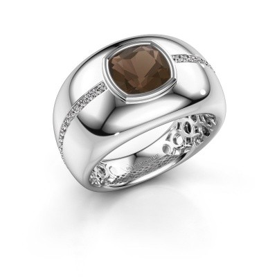 Foto van Ring Sydney 925 zilver rookkwarts 7.5 mm