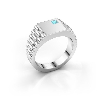 Foto van Rolex stijl ring Pelle 585 witgoud blauw topaas 3 mm