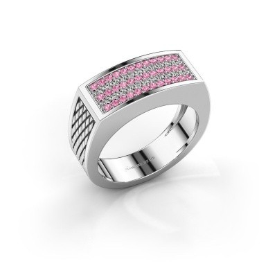 Foto van Heren ring Erwin 925 zilver roze saffier 1.2 mm