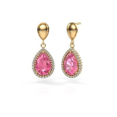 Picture of Drop earrings Cheree 1 585 gold pink sapphire 12x8 mm