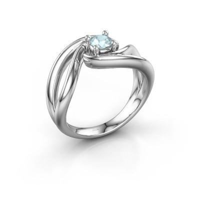 Ring Kyra 585 witgoud aquamarijn 4 mm