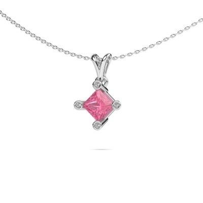 Picture of Pendant Cornelia Square 950 platinum pink sapphire 6 mm