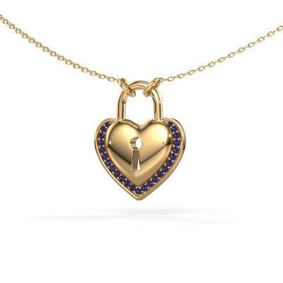 Picture of Necklace Heartlock 585 gold sapphire 1 mm
