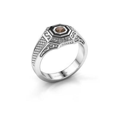 Foto van Heren ring Dion 925 zilver rookkwarts 4 mm