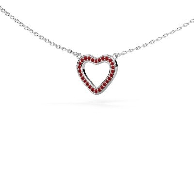 Picture of Pendant Heart 3 925 silver ruby 0.8 mm