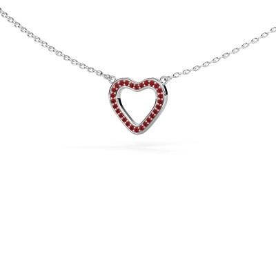 Foto van Hanger Heart 3 925 zilver robijn 0.8 mm