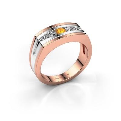 Foto van Heren ring Huub 585 rosé goud citrien 3.7 mm