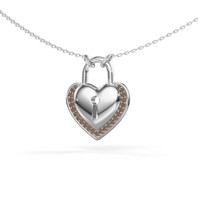 Picture of Necklace Heartlock 925 silver brown diamond 0.115 crt