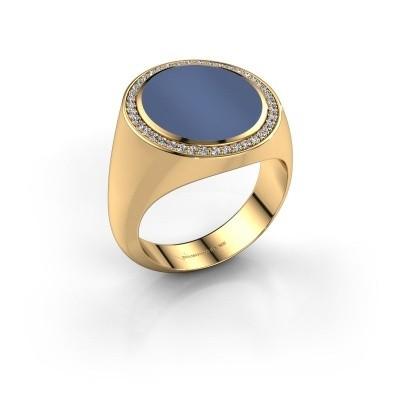 Foto van Zegelring Adam 5 750 goud blauw lagensteen 15x13 mm