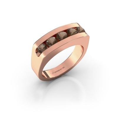 Foto van Heren ring Richard 585 rosé goud rookkwarts 4 mm