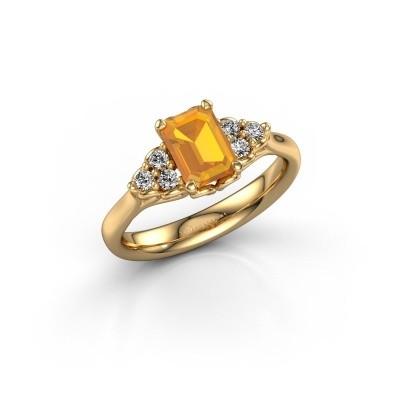 Foto van Aanzoeksring Myrna EME 750 goud citrien 7x5 mm