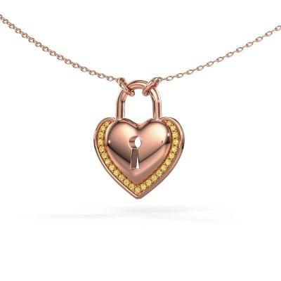 Foto van Halsketting Heartlock 375 rosé goud gele saffier 1 mm