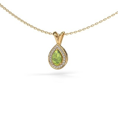 Picture of Necklace Ginger 585 gold peridot 6x4 mm