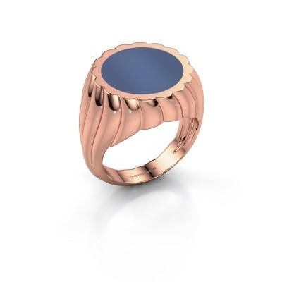 Foto van Zegelring Mano 585 rosé goud blauw lagensteen 13 mm