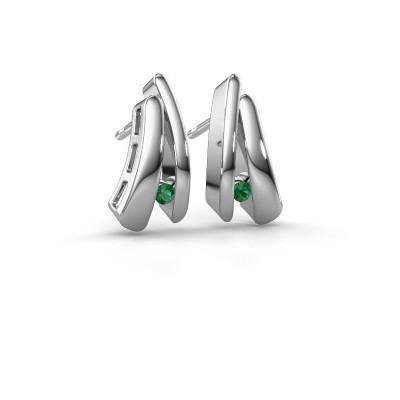 Picture of Earrings Liesel 925 silver emerald 2 mm