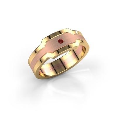 Foto van Heren ring Guido 585 rosé goud granaat 2 mm