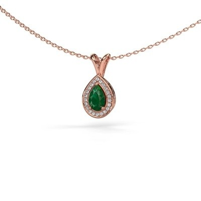 Picture of Necklace Ginger 375 rose gold emerald 6x4 mm
